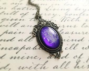 Purple Star Galaxy Necklace. Glass Cabochon. Star Gazer. Night Sky. Lilac. Purple. White. Deco Style Setting. Brass. Vintage Style. Silver.