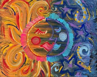Sun and Moon / Sun Painting / Moon Painting / Abstract Painting / Acrylic Painting / Celestial Painting / Abstract Wall Art / 16x20 Painting