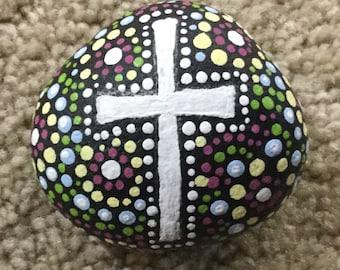 Hand painted Prayer Stone, cross, rock