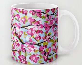 Cherry Tree Mug, Coffee Mug, Pink Mug, Gifts for Mom, Art Mug, Coffee Cup, Tea Mug, Floral Coffee Mug, Housewarming Gift, Ceramic Mug