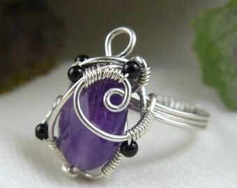Amethyst Ring ~ Purple Ring ~ Amethyst Bead Ring ~ Purple Bead Ring