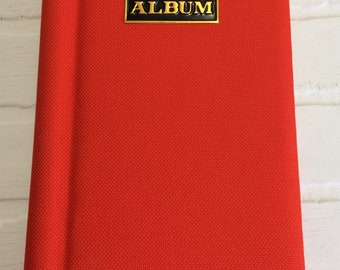 Vintage Orange Cloth Photo Picture Album Spiral Bound Holds 96 pictures