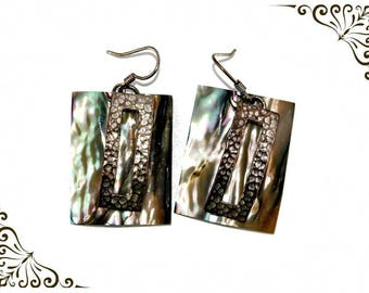 Abalone Earrings  925 Silver  Drop Rectangular Shell  Earrings