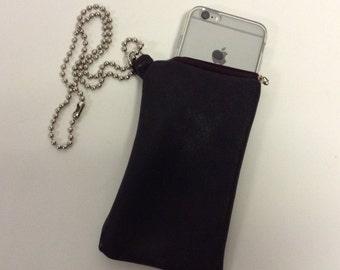 Handmade Leather Ball Chain Necklace Black Cell phone case Sleeve Holder CUSTOM
