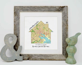 Housewarming Gift, Our First Home, House Map, First Home Gift for Couple, Personalized Map Art, Personalized House Warming Gifts, New Home