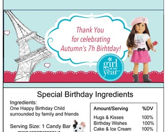 American Girl Grace birthday Candy Bar Wrapper
