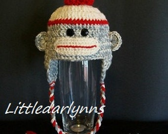 Crochet Sock Monkey Hat Gray Grey Sock Monkey Hat Beanie Baby Girls Hat Baby boys Hat Sock Monkey Baby Shower