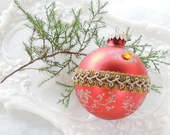 West Germany Red and Gold Hand Blown Glass Ornament  Christmas Mercury Glass, Tree Trimming Antique