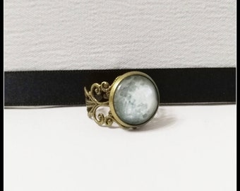 Full moon ring lunar gothic universe galaxy space astronomy moonchild victorian ring