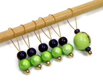 Lime Green, Dark Purple, Beaded Stitch Markers, Snag Free, DIY Knitting Tools, Gift for Knitter, TJBdesigns