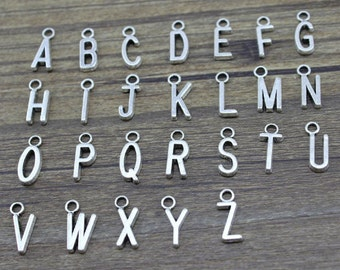 Choose Any 20 A-Z Alphabet Letter Charms Antique Silver Tone