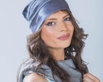 Bamboo beanie shibori hat pleated in hand dyed indigo navy. Great for cycling, cruisewear from Simmer Clothing