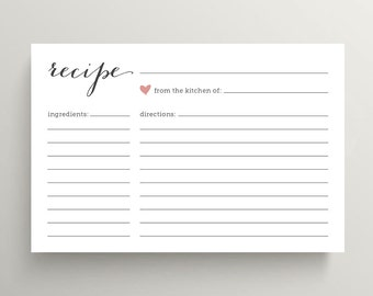 Bridal Shower Recipe Cards // Pink Love Heart (PP47)