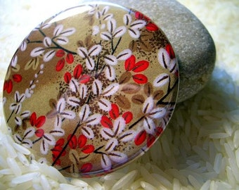 natural beauty - a pocket mirror featuring a japanese washi design