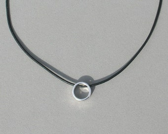 Small Silver plated Circle Pendant on Black Leather Cord