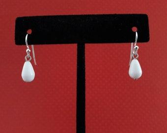 Mini and Minimal! Tiny Opaque White Resin Drop Charm  Earring Set