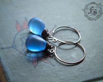 Fairy Drop Earrings in Cobalt Blue. Simple Rustic Everyday Czech Glass Hoop Drop Earrings in Sea Glass With Sterling Silver or Copper.