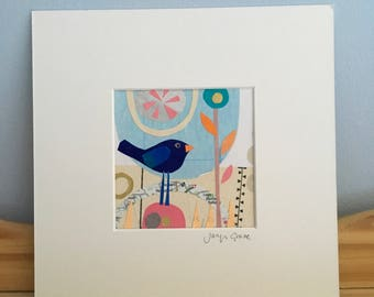 """Little blue bird mixed media collage, """"Dreaming"""""""