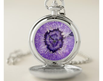 Purple Geode Pocket Watch - Silver or Gold Cases Available!
