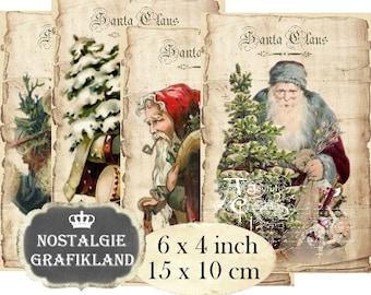 Christmas printable Santa Claus digital Vintage Ephemera Papers 6 x 4 inch Instant Download digital collage sheet D296