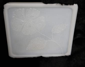 1950's Milk Glass Trivets/Tiles. Floral Embossed. Set of 4.