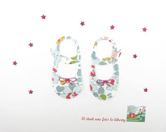 Applied fusible slippers liberty Betsy porcelain flex baby girl glitter patch iron birth gift