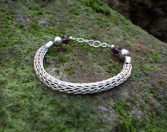 Silver viking knit bracelet bangle bracelet rubber bracelet silver wire wrapped bracelet wire jewelry viking jewelry wire wrap