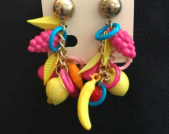 K.M.K.Carmen Miranda Style,Lucite Fruit Salad &Small Circle Rings,Gold Tone Post Earrings.