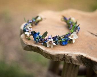 Floral Half Wreath flower head wreath headband fairy wreath hair crown wedding wreath bridal hair accessories white green blue