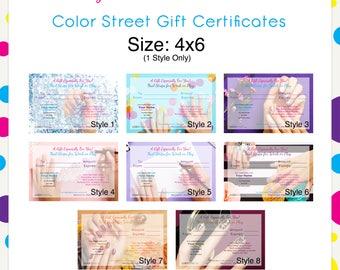 Color Street Gift Certificates 4x6 --Custom Digital Download