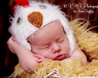 Baby Chicken Hat Newborn 3m Fuzzy Chick Rooster Hat Crochet Soft Animal Photo Prop Baby Boy Girl CUTE Winter Spring 2016 Easter SOFT
