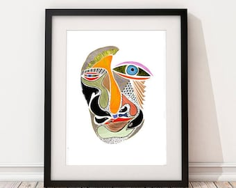 Special Signed Edition Print, Art Print, Wall Art, Abstract Face, Modern Home Decor, Ink Illustration Print, Graphic Print, Eclectic Design