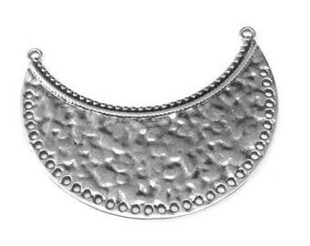 25% OFF Crescent moon pendant hammered collar bib Connector boho ethnic tribal Necklace Antique Silver European hypoallergenic Zamak 49x36mm