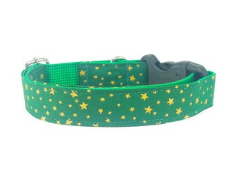 Gold Star on Green, Dog Collar, Christmas, dog collars for girls, dog collars for boys, Summer, Spring, Winter, Pet collar