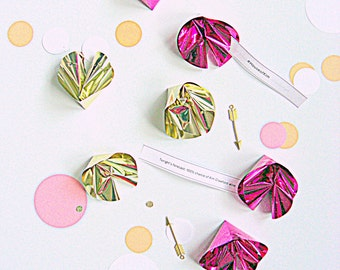 Foil fortune cookies, set of 12, party favors, fortune cookie sayings, party games, foil party supplies, pink and gold party