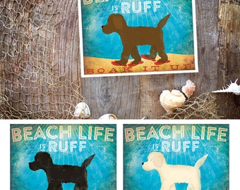 Beach life is Ruff doodle goldendoodle labradoodle dog illustration in sandals graphic art giclee signed artists print by Stephen Fowler