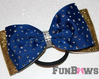 Beautiful double layer rhinestone Glitter Tail-less cheer - dance - pageant  bow  by Funbows