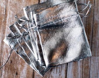 Silver drawstring bag extra small  7cm x 9cm