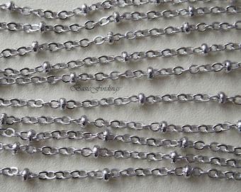 10 Meter, Rhodium Satellite Chain, 235SF-Ball, Original Rhodium Plated Brass Chain,  Basic Fashion Jewelry Chain, Quality Brass Chain