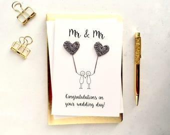 Mr & Mr card - Gay wedding card - Groom and Groom card - Mr and Mr wedding