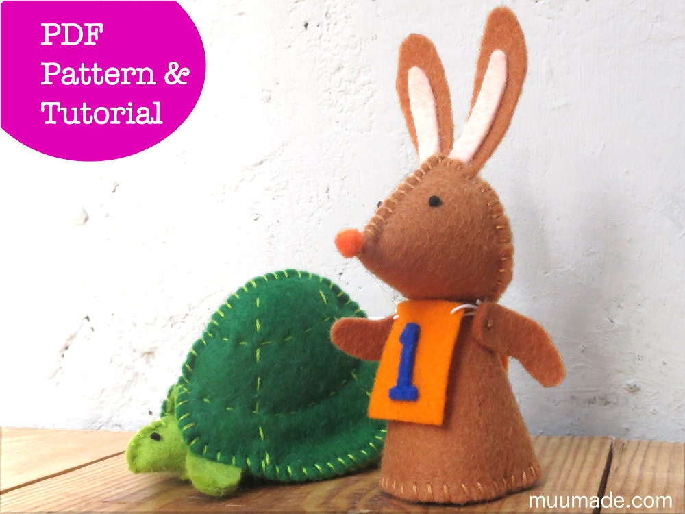 2 Finger Puppet Sewing Pattern Hare Tortoise Rabbit Bunny Turtle