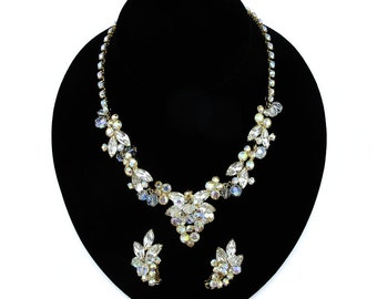 Vintage Bridal Jewelry, Bridal Set, Vintage Wedding Jewelry, Juliana Jewelry, DeLizza Elster, Crystal Jewelry Set, Vintage Designer Jewelry