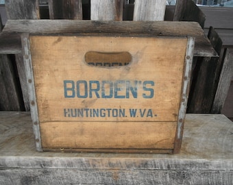Vintage Wooden Dairy Crate Box - Borden's Huntington WV - Industrial - Advertising