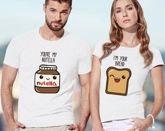 Nutella shirt / pärchen t-shirts / couples t shirt / couples gift set / couple shirt / his and hers shirts / just married shirts