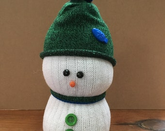 Green sock snowman