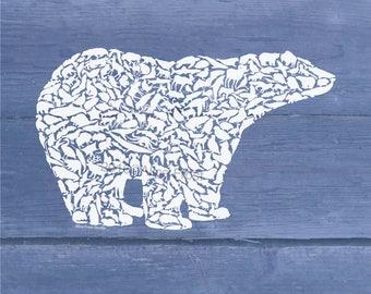 Polar Bear made from Arctic Animals Wall Decor Art Print