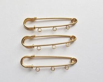 Gold plated 3 loop kilt pins