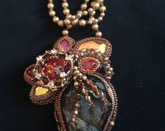 """Bead Embroidery Necklace """"Some Like It Hot"""""""