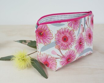 Zipper pouch. Makeup pouch. Small cosmetic case. Flowering gum print. Australiana bag. Gifts for her.  Pink floral pouch. Wet bag.