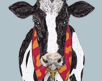 A portrait of a cow